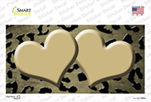 Gold Black Cheetah Hearts Oil Rubbed Wholesale Novelty Sticker Decal