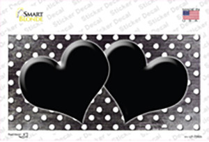Black White Small Dots Hearts Oil Rubbed Wholesale Novelty Sticker Decal