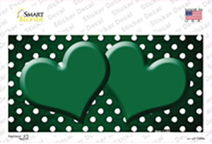 Green White Small Dots Hearts Oil Rubbed Wholesale Novelty Sticker Decal