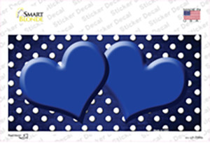 Blue White Small Dots Hearts Oil Rubbed Wholesale Novelty Sticker Decal