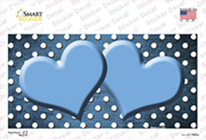 Light Blue White Small Dots Hearts Oil Rubbed Wholesale Novelty Sticker Decal