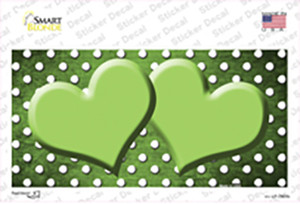Lime Green White Small Dots Hearts Oil Rubbed Wholesale Novelty Sticker Decal