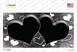 Black White Love Hearts Oil Rubbed Wholesale Novelty Sticker Decal