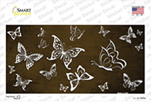 Brown White Butterfly Oil Rubbed Wholesale Novelty Sticker Decal