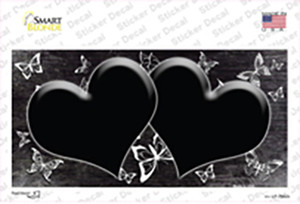 Black White Hearts Butterfly Oil Rubbed Wholesale Novelty Sticker Decal