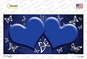 Blue White Hearts Butterfly Oil Rubbed Wholesale Novelty Sticker Decal