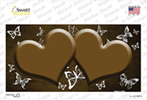 Brown White Hearts Butterfly Oil Rubbed Wholesale Novelty Sticker Decal
