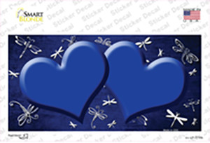 Blue White Dragonfly Hearts Oil Rubbed Wholesale Novelty Sticker Decal