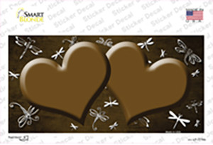 Brown White Dragonfly Hearts Oil Rubbed Wholesale Novelty Sticker Decal