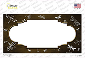 Brown White Dragonfly Scallop Oil Rubbed Wholesale Novelty Sticker Decal