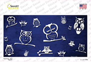 Blue White Owl Oil Rubbed Wholesale Novelty Sticker Decal