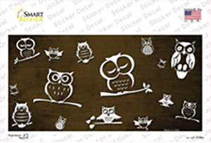 Brown White Owl Oil Rubbed Wholesale Novelty Sticker Decal
