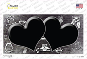 Black White Owl Hearts Oil Rubbed Wholesale Novelty Sticker Decal