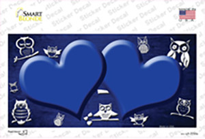 Blue White Owl Hearts Oil Rubbed Wholesale Novelty Sticker Decal