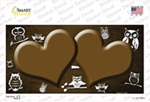 Brown White Owl Hearts Oil Rubbed Wholesale Novelty Sticker Decal