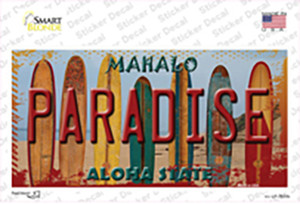 Paradise Surfboards Hawaii State Wholesale Novelty Sticker Decal