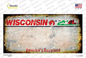Wisconsin State Rusty Wholesale Novelty Sticker Decal