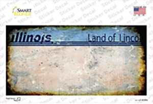 Illinois State Rusty Background Wholesale Novelty Sticker Decal