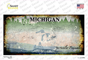 Michigan State Rusty Background Wholesale Novelty Sticker Decal