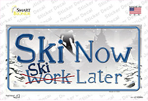 Ski Now Work Later Wholesale Novelty Sticker Decal