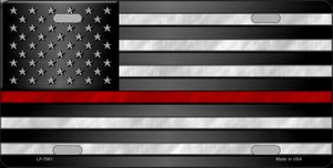 American Flag Thin Red Line Novelty Wholesale Metal License Plate