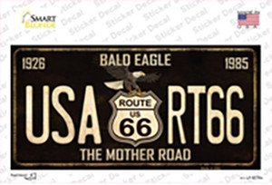 Bald Eagle Route 66 Wholesale Novelty Sticker Decal