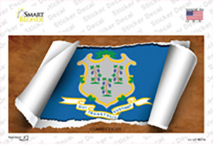 Connecticut Flag Scroll Wholesale Novelty Sticker Decal
