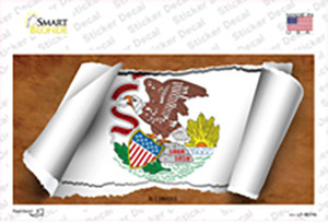 Illinois Flag Scroll Wholesale Novelty Sticker Decal