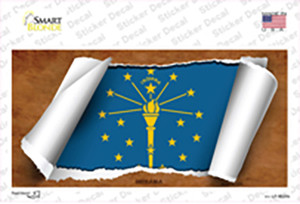 Indiana Flag Scroll Wholesale Novelty Sticker Decal