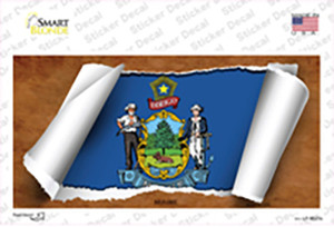 Maine Flag Scroll Wholesale Novelty Sticker Decal