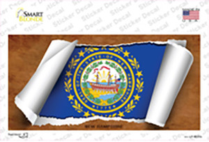 New Hampshire Flag Scroll Wholesale Novelty Sticker Decal