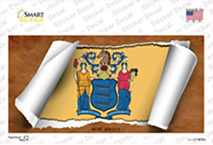 New Jersey Flag Scroll Wholesale Novelty Sticker Decal
