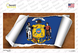Wisconsin Flag Scroll Wholesale Novelty Sticker Decal
