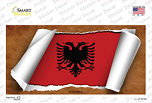Albania Flag Scroll Wholesale Novelty Sticker Decal