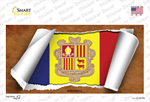 Andorra Flag Scroll Wholesale Novelty Sticker Decal