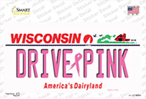 Drive Pink Wisconsin Wholesale Novelty Sticker Decal