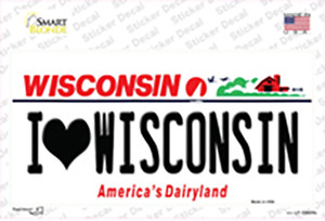 I Love Wisconsin Wholesale Novelty Sticker Decal