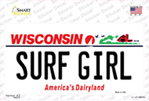 Surf Girl Wisconsin Wholesale Novelty Sticker Decal