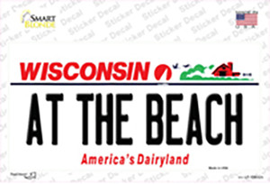 At The Beach Wisconsin Wholesale Novelty Sticker Decal