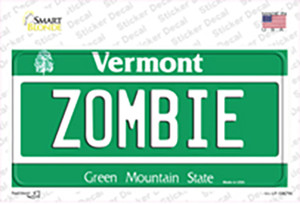 Zombie Vermont Wholesale Novelty Sticker Decal