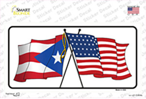 Puerto Rico Crossed US Flag Wholesale Novelty Sticker Decal