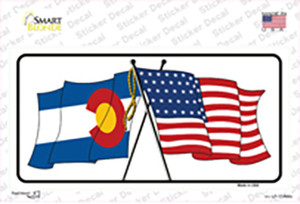 Colorado Crossed US Flag Wholesale Novelty Sticker Decal