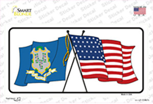 Connecticut Crossed US Flag Wholesale Novelty Sticker Decal
