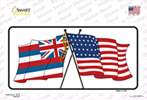Hawaii Crossed US Flag Wholesale Novelty Sticker Decal