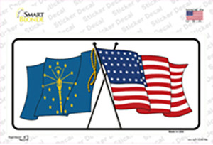 Indiana Crossed US Flag Wholesale Novelty Sticker Decal