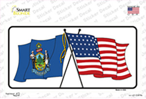 Maine Crossed US Flag Wholesale Novelty Sticker Decal