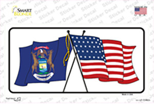 Michigan Crossed US Flag Wholesale Novelty Sticker Decal