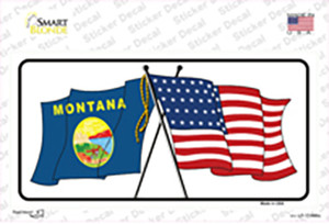 Montana Crossed US Flag Wholesale Novelty Sticker Decal
