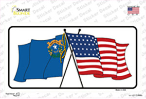 Nevada Crossed US Flag Wholesale Novelty Sticker Decal