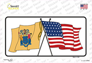 New Jersey Crossed US Flag Wholesale Novelty Sticker Decal